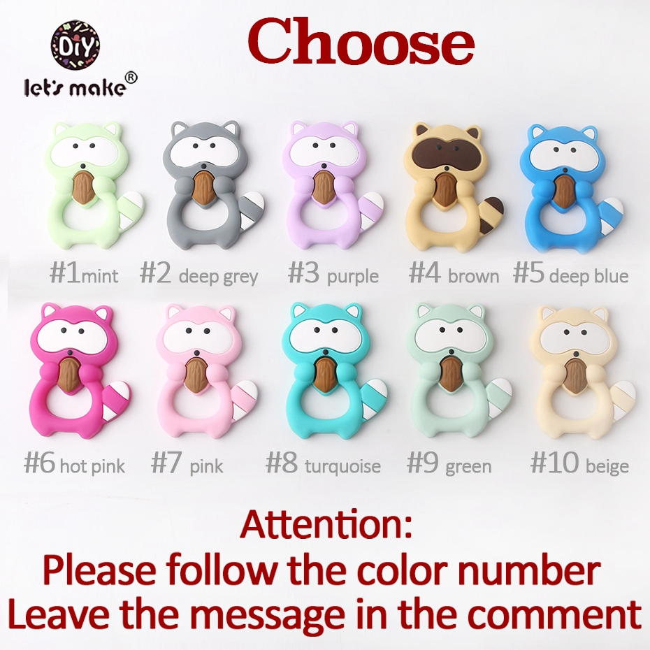Image 3 - Let's Make Baby Silicone Teether Raccoon 5pc BPA Free Colorful Raccoon Teether Pine Nut Necklace Shower Teething Baby Teether-in Baby Teethers from Mother & Kids