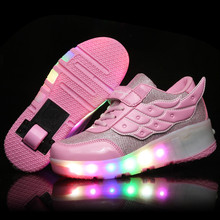 New 2016 Child Heelys Jazzy Junior Girls Boys LED Light Heelys Roller Skate Shoes With Wheels pink  For Children Kids Sneakers