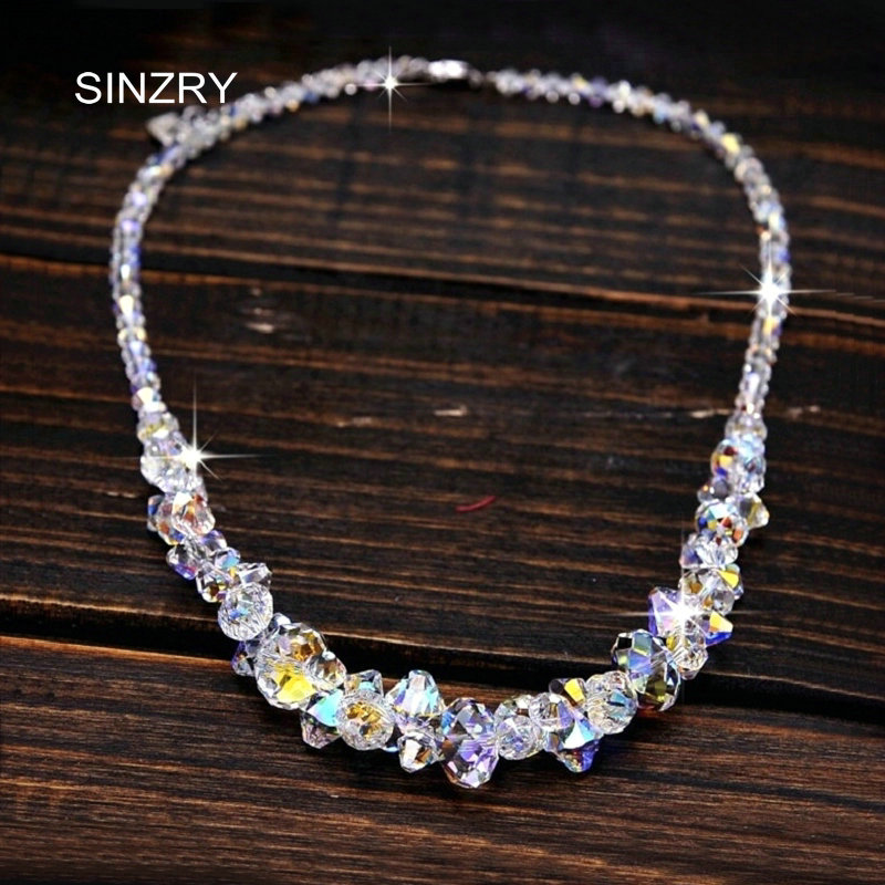 SINZRY jewelry imported crystal brilliant chokers necklaces luxury 925 sterling silver handmade glass crysal bridal jewelry