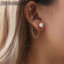 Fashion jewelry for women ear clip simple design hip pop Retro Vintage Gold color imitation Pearl clip Earrings 2018 hot new(China)