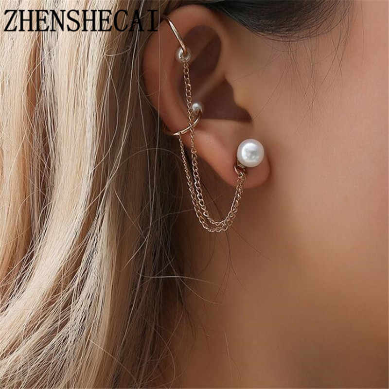 Fashion jewelry for women ear clip simple design hip pop Retro Vintage Gold color imitation Pearl clip Earrings 2018 hot new