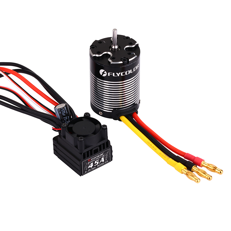 Flycolor 45A Brushless ESC + 3650 3000KV Waterproof Sensorless Motor Combo Set for 1/10 RC Car цены