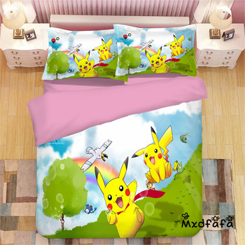 Mxdfafa Anime Pokemon duvet cover Set Cartoon Bedding Sets Luxury Duvet Cover sets 3pcs Include 1 Duvet Cover and 2 pillow Cases