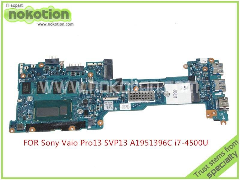 A1951396C V270 MBX 1P-0134J00-8011 For sony Pro13 svp13 Laptop mainboard SR16Z core i7-4500U+8G