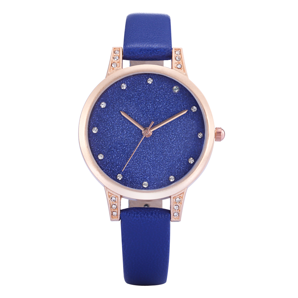 2017 New Luxury REBIRTH Brand Watch Women Fashion Casual Blue Leather Crystal Quartz-Watch Female Dress Clock Relogio Feminino swiss fashion brand agelocer dress gold quartz watch women clock female lady leather strap wristwatch relogio feminino luxury