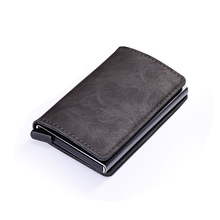 Wholesale Men Card Holder RFID Aluminium Alloy Credit PU Leather Wallet Antitheft Automatic Pop Up