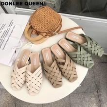 DONLEE QUEEN Woven Shoes Women Flat Weaving Slippers Ladies Slip On Mule Female Summer Casual Loafer Slides sandalias muje