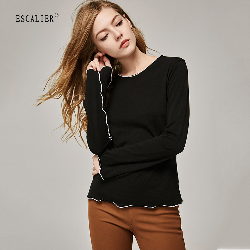 ESCALIER Wanita T-Shirts Berlengan Long Sleeve Warna Pepejal O-leher T shirt Kasual Wanita Tees Kapas Elegant Ladies Tees Tops