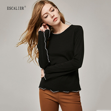 ESCALIER Women T-Shirts Flare Long Sleeve Solid Color O-neck Casual T shirt Female Tees Cotton Elegant Ladies Tops