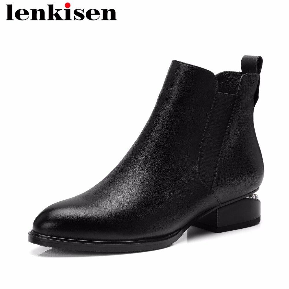 Lenkisen filles coréennes perles bout rond carré bas talons grande taille zipper chelsea bottes couleur noire luxe femmes bottines L2f5