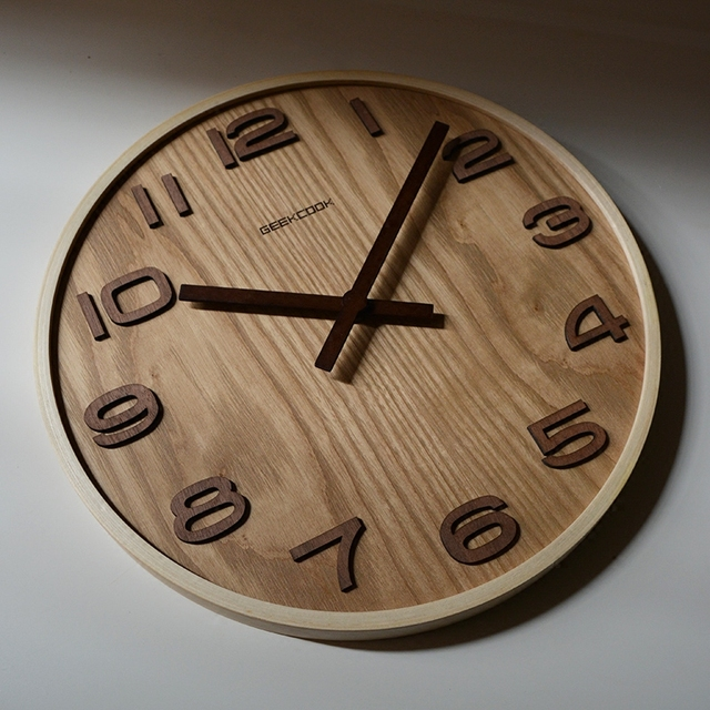 PINJEAS natural wall clock brief style wooden wall clock wood decor large round unique clock 14 INCH decor contemporary design
