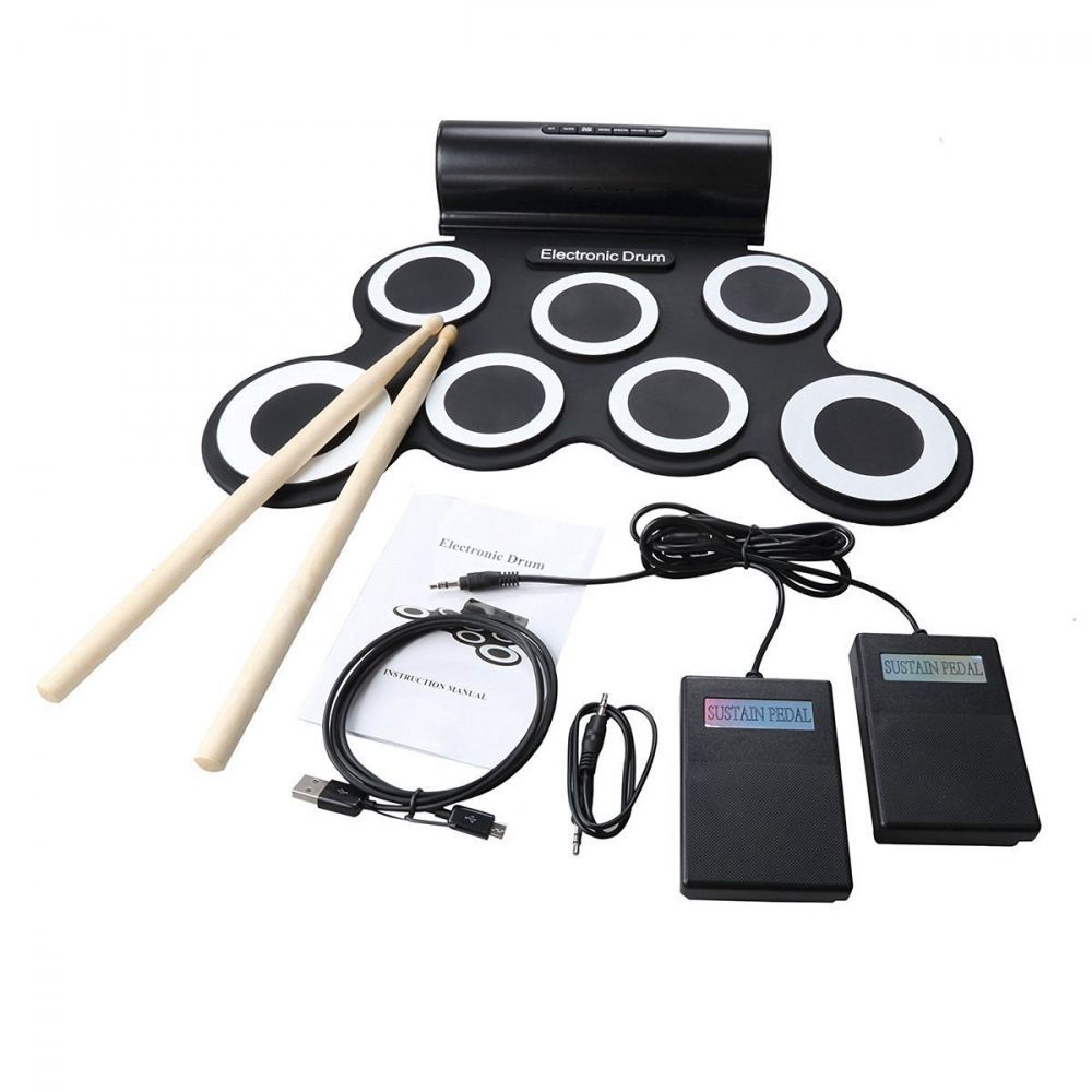 MMFC-Portable Electric Drum Digital Mono Electronic Drum Set 7 Silicon Pads Built-in Speaker USB Powered with Drumsticks Foot new stereo electronic drum set 7 silicon electronics drum pads built in speakers usb recording function with drumsticks pedals