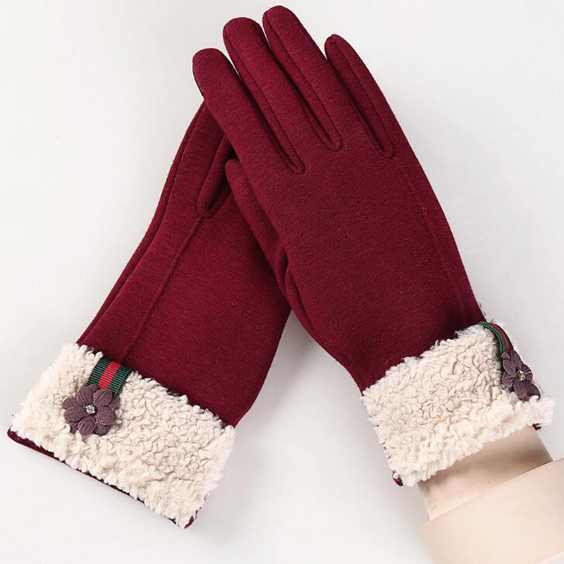 Female Winter Sports Fitness Warm Gloves Fashion Women Wrist Flowers Plus Cashmere Cotton Full Finger Touch Screen Gloves 13F