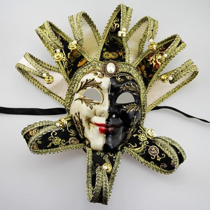 Phantom Full Face Venetian Masquerade Clown Mask Bells Cosplay Halloween Ball Party Mask Joker Costume Wall Decoration