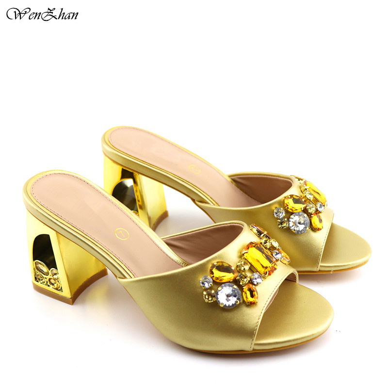 Nice Sandals Shoes Gold PU Leather Nigerian Suqare Heel Women Shoes Comfortable 8.5cm Pumps 37 42 WENZHAN C96 22