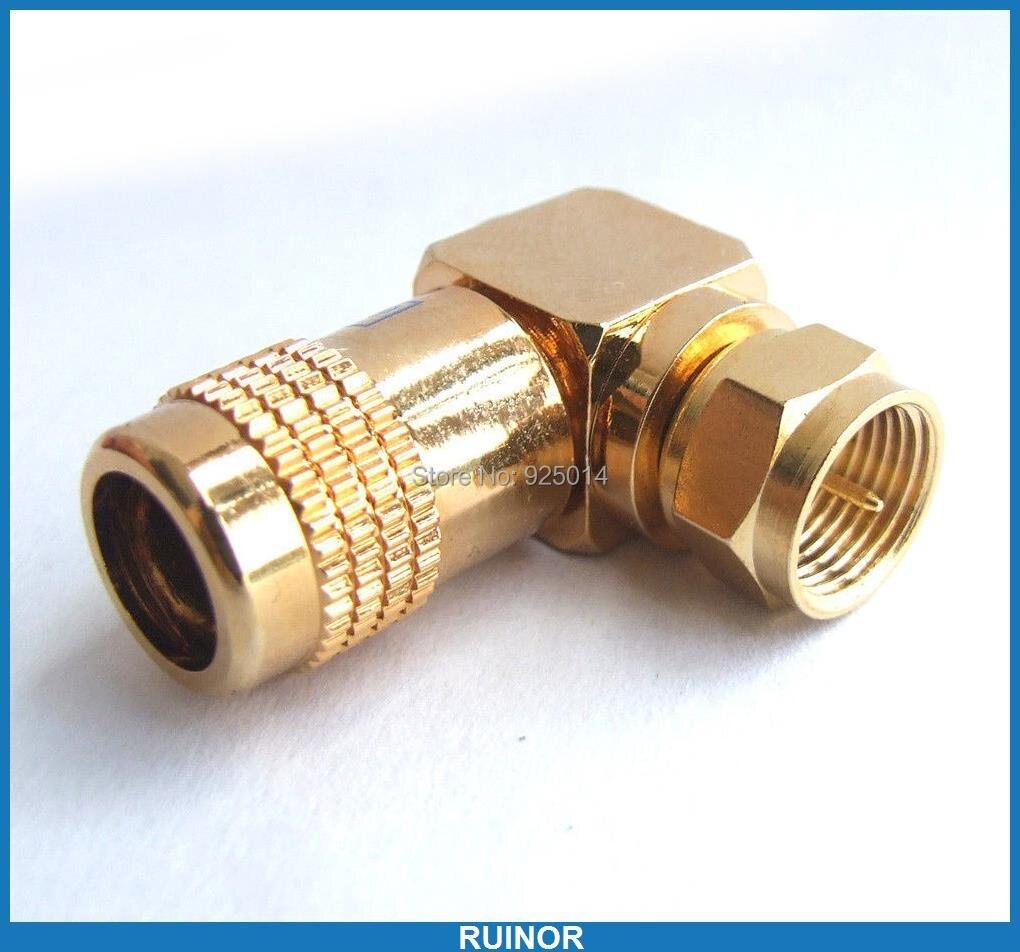ФОТО 10PC 24K gold Copper F Male plug Right Angle Type  solder for CCTV TV Vide