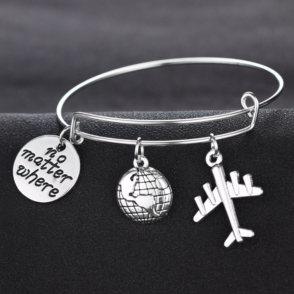 Message Quote Airplane Earth Charm Silver Wanderlust Traveling The ...