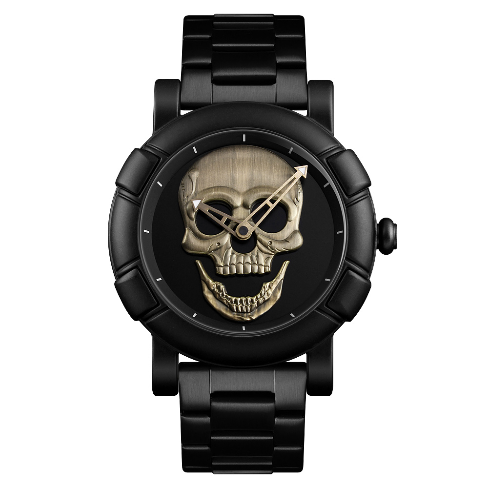 Luxury SKMEI Creative Gold Skull Quartz Watch Men Stainless Steel Clock Waterproof Mens Wristwatch Relogio Masculino relojes