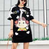 Loose maxi summer women long tees pink cute girls print casual lace appliques t dress rainbow letters sequins blousa tops NS718