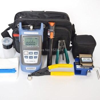 12 pçs/set FTTH Kit de Ferramentas De Fibra Óptica com Fibra Cleaver-70 ~ + 10dBm Medidor de Potência Óptica localizador Visual de Falhas lcator 10 mw