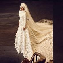 Muslim A Line Wedding Dress With Hijab Long Sleeve Vestidos De Noiva Appliques Wedding Dresses Robe De Mariage Casamento 2015
