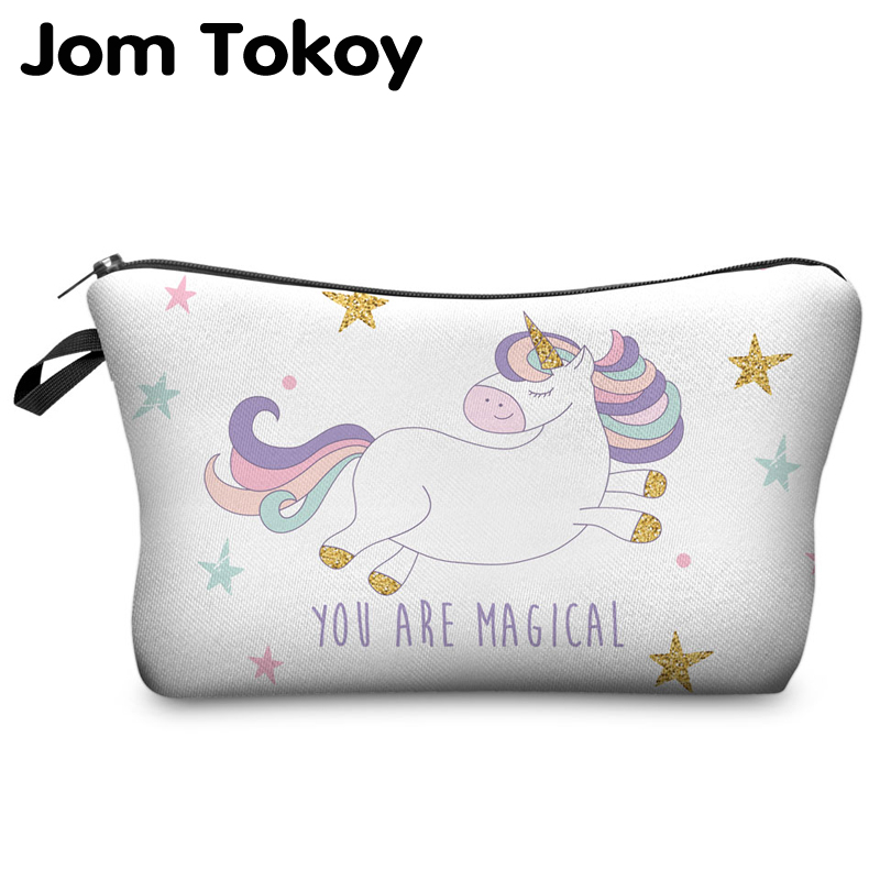Printing Cosmetic Bag Unicorn Multicolor Pattern Cute Cosmetic Organizer Bag For Travel Ladies Pouch Women Makeup Bags
