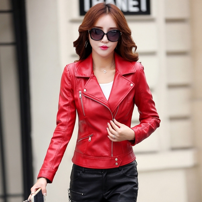 leather jacket women short design motorcycle leather jackets slim ...