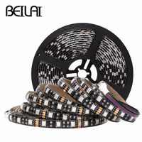 BEILAI SMD 5050 RGB LED tira impermeable DC12V 60LED/m 5M 300LED negro PCB cinta de Luz LED tiras cinta de neón Flexible iluminación de Luz