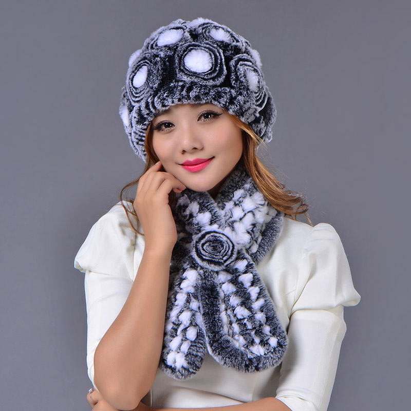 Rex Rabbit Fur Hat Scarf Set Winter Warm Set Real Fur Cap Women Striped Flower Fashion Elegant Fur Hat Scarf