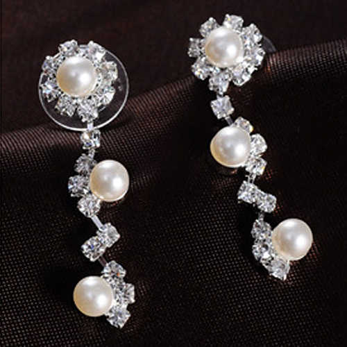 Faux Pearl Clear Austrian Rhinestone Choker Necklace Earrings Jewelry Set for Girl Friend A85D