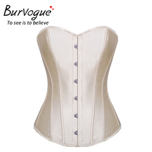 Burvogue Sexy Corsets and Bustiers Ladies Overbust Corset Steel Boned Bustier Vintage Satin Bridal Corset Bustier Tops for Women