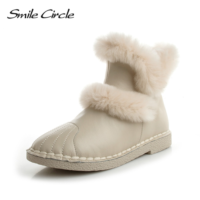 Smile Circle Women Ankle Boots Fashion Natural fur Winter Boots Genuine Leather Shoes Short Plush Inside Hands Sewing Zip Design whensinger 2017 new women fashion boots genuine leather fashion shoes rubber sole hands sewing 2 color 7126