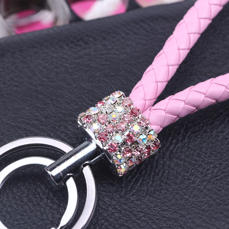 22Colors Double Loop Rhinestone Crystal keychain 2019 new key chain purse messenger bag Car backpack pendant(China)