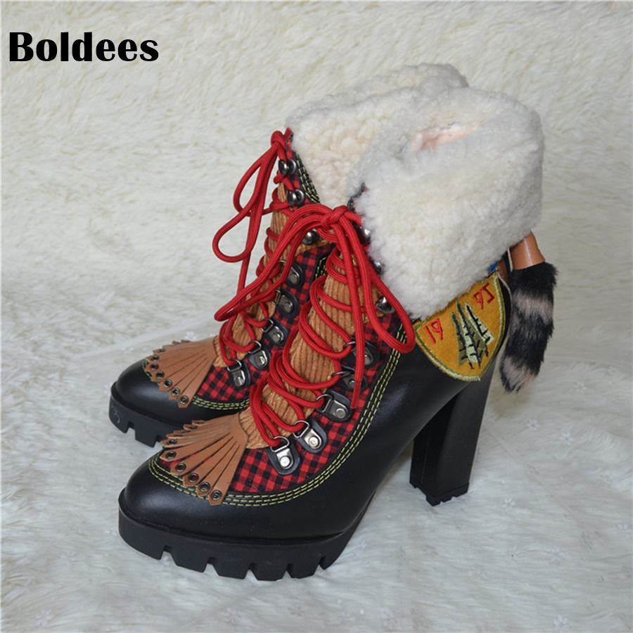 Chirstmas Gift Winter Wool Snow Boots Woman Designer Platform High Heel Ankle Boots Short Fashion Lace Up Booty