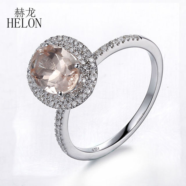 HELON Solid 10K White Gold 7x5mm Oval 0.8ct Morganite Pave 0.25ct Diamonds 2 Halo Engagement Wedding Ring For Women's Jewelry