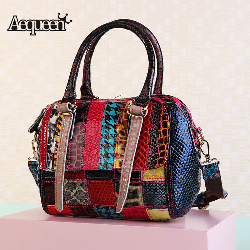 0a3765d33f69 Detail Feedback Questions about AEQUEEN Colorful Genuine Leather Handbags  Women Shoulder Bags Small Shell Crossbody Hand Bag Patchwork Purse Bolsos  Random ...