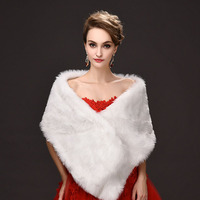 Women Winter Wedding Wraps White Faux Fur Long Cape for Party Dress Bridal Accessories One Size US 2-US 10 Free Shipping