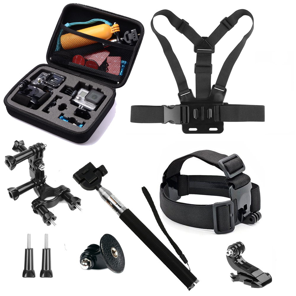 9 in 1 Kits for GoPro Hero 5 Accessories Set Middle Case with Monopod Chest Strap Mount for SJCAM SJ4000 Xiaomi Yi 4K h9 Go Pro