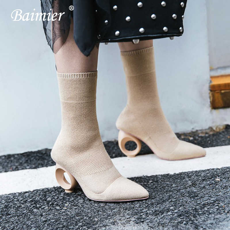 Baimier Brand Round Ring Heel Women Sock Boots Knitted Ankle Boots For Women Pointed Toe Soft Slip On High Heels Boots Women