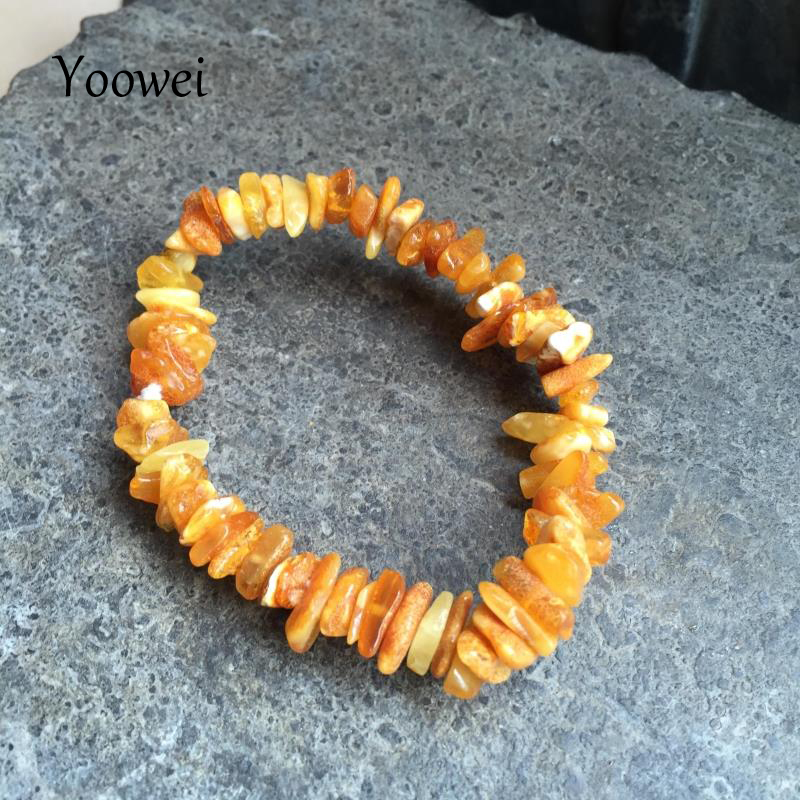 Yoowei Natural Amber Bracelet For Women Baltic Irregular Honey Beads Amber Jewelry Elastic Adult Stretch Bracelets Unique Gifts A Great Variety Of Goods