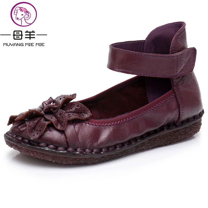 MUYANG MIE MIE Genuine Leather Flat Shoes Pregnant Women Shoes Driving Shoe Woman Moccas ...