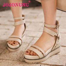 women real genuine leather platform ankle strap wedge high heel sandals sexy fashion brand heeled ladies shoes size 34-40 R6379