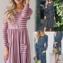 Women Spring Long Sleeves O-Neck Midi A-Line Dress Irregular Stripes Patchwork High Waist Pleated Double Pockets Front Pullover grey crossed front design round neck long sleeves midi dress