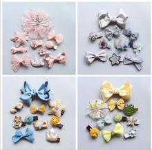 10 Pcs/set Fashion Cartoon Lace crown Hair Accessories For Girls Barrettes Cute Clips Hairpin Tie Princess set TZ57