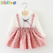 Sodawn Autumn Long Sleeve Dress 2018 Baby Girls Clothes Knit Floral Baby Long Sleeve Fashion Princess Baby Girls Dress Kids Suit