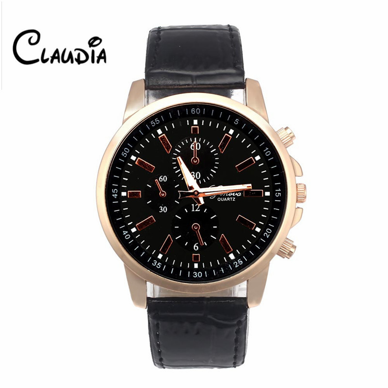 Newest High Quality CLAUDIA Fashion Geneva Leather Analog Dial Quartz Sport Wrist Watch Dropship Hot Sale Relogio Masculino claudia hot sale creative fashion watches men casual faux leather analog big dial sport style wrist quartz watch dropship
