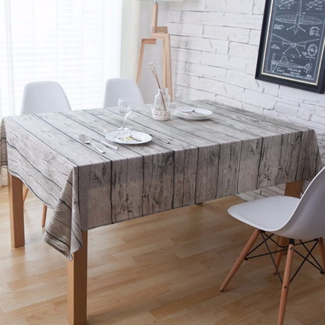 Nosii retro madera grano mantel algodón Lino tela de mesa cocina Pat ...