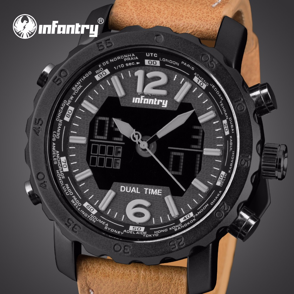 Mens Watches Luxury Brand INFANTRY LED Display Analog Digital Sport Watches Leather Strap Aviator Military Clocks Relojes Hombre infantry mens watches relojes hombre luminous watches 2017 new date day police black g10 nylon fabric strap quartz watches