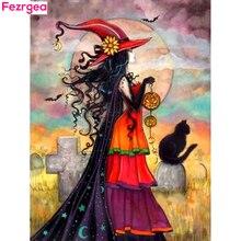 Fezrgea Diamond Embroidery Halloween DIY Painting Portrait Mosaic Cat Full Square Cartoon Picture Of Rhinestone