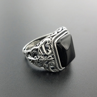 Pure 925 Sterling Silver Men Rings Natural Black Onyx Stone Square Shape Hollow Cross Flower Carved Vintage Punk Jewelry Gifts